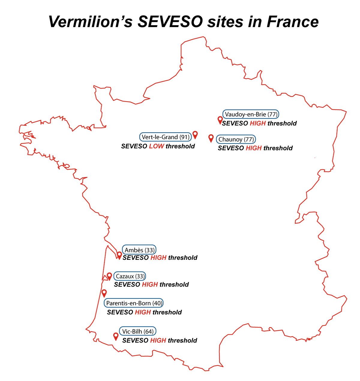 Carte des sites SEVESO de Vermilion en France.